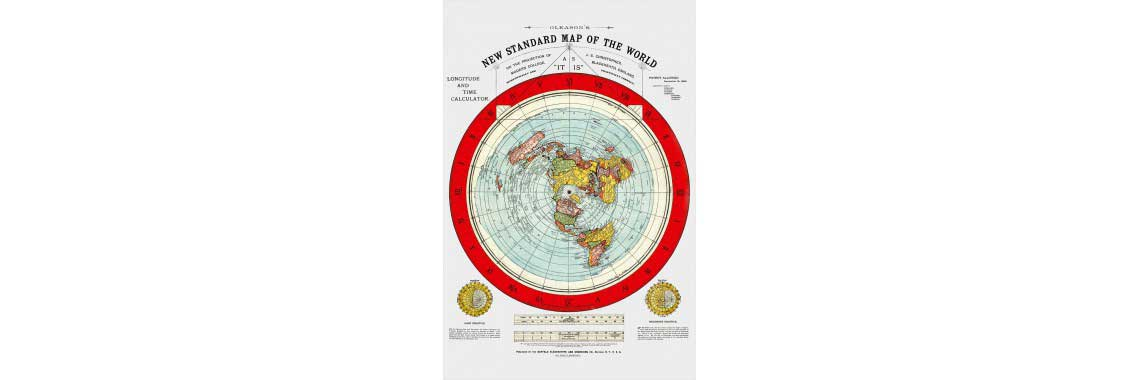 lat Earth Map - Gleason's New Standard Map Of The World