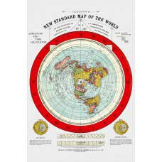 "Flat Earth Map - Gleason's New Standard Map Of The World - Large 24"" x 36"" 1892 Reproduction"
