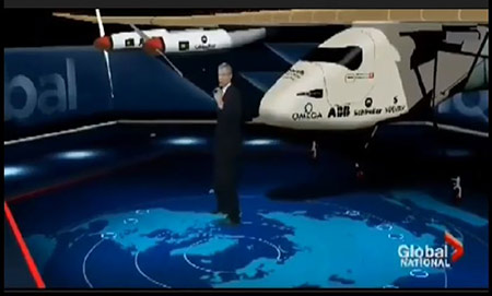 Flat Earth Mockery With Swiss Solar-Powered Airplane With Pilot Piccard